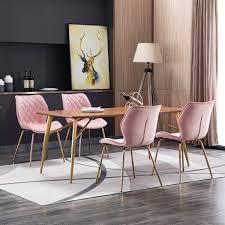 duhome 2er set esszimmerstuhl aus stoff samt hellrosa pink