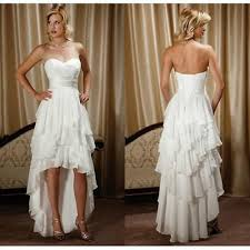 White Beach High Low Wedding Dress Short Front And Long Back Hi Lo Bridal Gowns