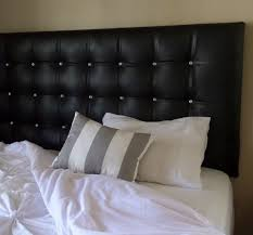Black Leather Headboard King by King Size Black Faux Leather Tufted Upholstered Headboard Crystal