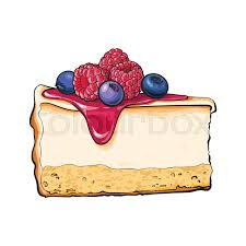 Realistic hand drawing of piece slice of cheesecake cheese cake Stock Vector
