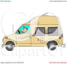 Cartoon Of A Man Driving Class B Motorhome