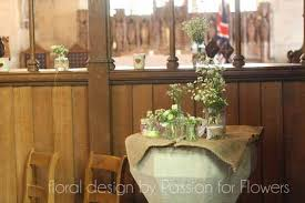 Rustic Wedding Flowers Jam Jars Church