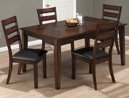 baroque brown dining table with mosaic tile inlay and four slat