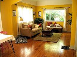 yellow living room with glossy wooden flooring fits the room space