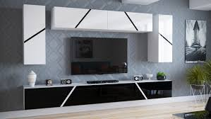 moderne wohnwand tv und mediamöbelset anbauwand 3 teilig ida 1 6 hängemodule 300 cm hochglanz
