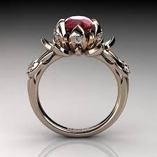 Nature Inspired 14K Rose Gold 2 0 Carat Oval Ruby Diamond Lotus