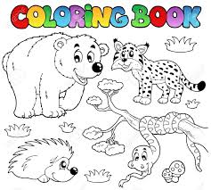 Coloring Book With Forest Animals Illustration Stock Vector