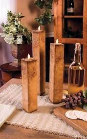 New Wood 3 GRAPE CANDLE HOLDER SET Square Stenciled WINE Kitchen Decor TUSCAN