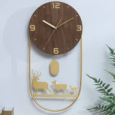 nordic große wanduhr holz metall gold wohnzimmer pendel