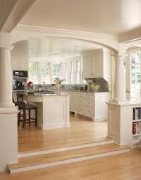 Open Kitchen Into Living Room Concepts With Pillars To Separate Areas