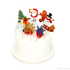 10PCSSET Cake Topper Cupcake Santa Claus Christmas Tree Decoration Elk Gift Box Card Christmas Cake Top Flag Tag