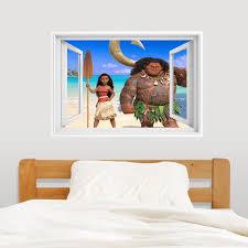 3d effekt fenster moana wandtattoo aufkleber baby kinder schlafzimmer dekor hause lounge tapete 80x56 cm