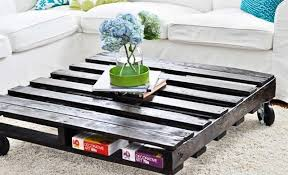 Painted Pallet Coffee Table Dark On Wheels Plus Square Shaped Design
