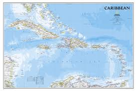 Caribbean West Indian Islands Wall Map