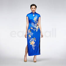 blue floral embroidered silk qipao short sleeve chinese cheongsam