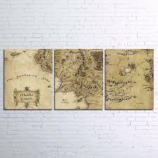Lienzo Arte De La Pared Imgenes HD Impreso Modular Living Room Decor 3 Piezas El Seor Los Anillos Mapa Pinturas Abstractas Del Cartel Pelcula
