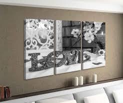 leinwandbild 3 tlg liebe blumen blume rot text schlafzimmer vintage schwarz weiß bild bilder leinwand leinwandbilder holz wandbild mehrteilig