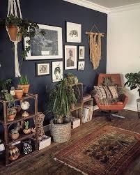 dunkelgraue wand mit vielen zimmerpflanzen und erdigen