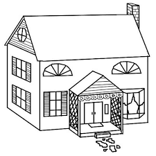 House Simple Drawing Of Houses Coloring Page