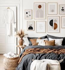 grafische formen bilderwand grafikbilder schlafzimmer ideen