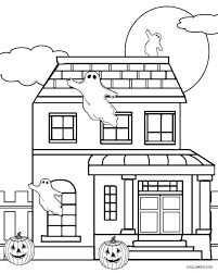 Coloring Page Halloween Haunted House Pages For Cat Pdf