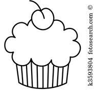 baked goods black and white clipart 8