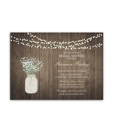 Rustic Bridal Shower Invitation Mason Jar Barn Wood