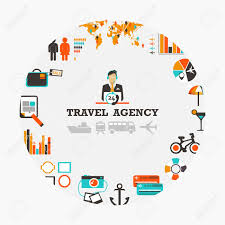Travel Agency Emblem With Man And Icons Stock Vector
