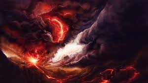 Art Volcano Explosion Fire Smoke Mountains Lightning Storm Wallpaper