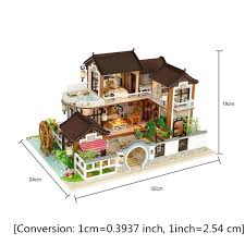 COSSY Wooden Doll House With 12 Pieces Of Furniture 3 Levels House