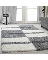 hochflor langflor wohnzimmer shaggy teppich florhöhe 3cm grau weiss hellgrau größe 60x110 cm