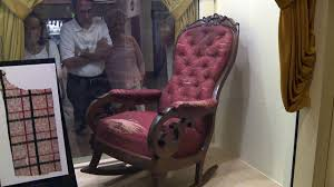 Shocker: There's A Confederate Flag Sewn Into Lincoln's ... Rocking Chair In Lincoln Lincolnshire Gumtree Tells A Story Beyond The Assination Abraham From Fords Theatre Before Cherry Rocker Classic Rock Antiques Lincoln Rocker Arthipstory Showing Photos Of Upcycled Chairs View 1 20 Antique 1890 Victorian Wood Cane Back All Re A 196070s Rocking Designed By Torbjrn President Was Assinated This Today Lincolns Placed Open Plaza Antiquer Reupholstery On Wheels 1880 German Bible My First