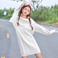 Japanese Kawaii Warm White Winter Sweater Dress SD00729
