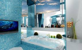 Blue Mosaic Bathroom Mirror by Bathroom Ideas Rustic Beach Themed Bathroom With Built In Bathtub