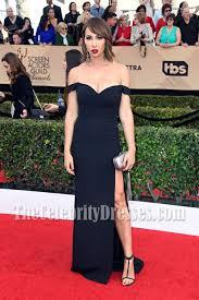 Evening Dresses Red Carpet by Jackie Cruz Black Off The Shoulder High Slit Evening Dress Sag