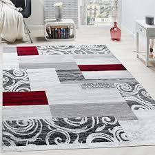 paco home designer teppich wohnzimmer inneneinrichtung floral muster meliert hell grau rot grösse 60x100 cm