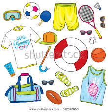 A Set Of Summer Clothes And Attributes Beach Retreat Vector Illustration For Postcard
