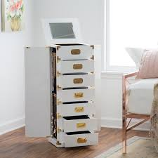 Belham Living Campaign Trunk Jewelry Armoire - High Gloss White ... Double Honey For Chelsea Jewelry Armoire Grey Mist Hives Hayneedle Madison And Landry Dark Walnut Celine Espresso Armoires Cabinets Sears Interior Honey Jewelry Armoire Faedaworkscom Trinity Mirrfront Cheval Morgan