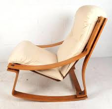 Designer Rocking Chair Beautiful Vintage Modern Features A Bent Plywood Teak Frame And Plush