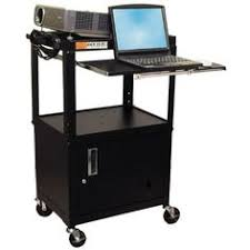 Luxor Multipurpose Adjustable Height Steel A V Utility Cart With Cabinet Pullout Keyboard Shelf