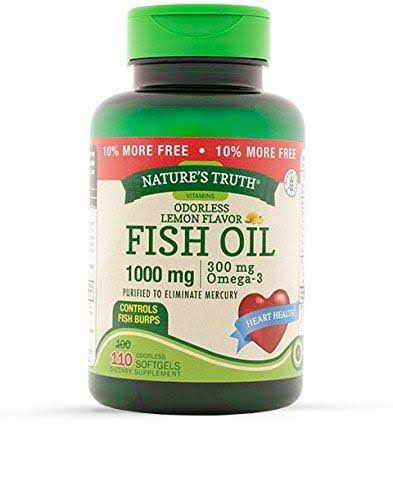 Nature's Truth Odorless Fish Oil - 1000mg, Lemon Flavor, 110ct