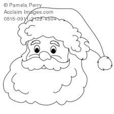 Clip Art Illustration Of A Santa Claus Face Coloring Page