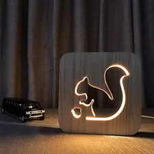 ocamo led nachtlicht led deko le eichhörnchen holz le kinder schlafzimmer dekoration warmes licht led usb nachtlicht für kinder geschenk