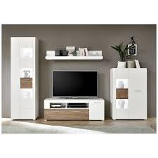 lomadox wohnwand swakopmund 61 wohnzimmer inkl led weiß mit eiche craft dunkel b h t 318 192 40cm kaufen otto