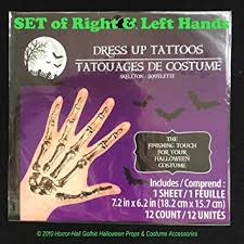 Realistic Gothic SKELETON HAND BONES Temporary Fake Tattoos Adult Costume Makeup
