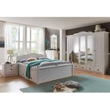 landhaus schlafzimmermöbel set aus kiefer weiß laburita mit stauraumbett 6 teilig
