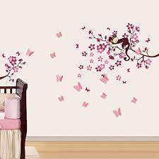 autocollant chambre fille walplus stickers muraux 3d pour chambre d enfant papillons fleurs