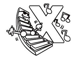Letter X Preschool Kids Learn For Xylophone Coloring Page