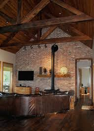 Cypress Beams Truss With Tongue And Groove Cathedral Ceiling To Accent Brick Wall Owners Inherited Wood Stove