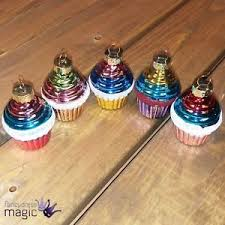 Image Is Loading Gisela Graham Painted Glass Cupcake Hanging Christmas Tree